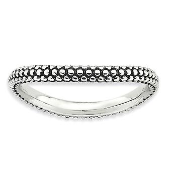 2.25mm Sterling Silver Patterned Antique finish Stackable Expressions Polished Antiqued Wave Ring - Ring Size: 5 to 10