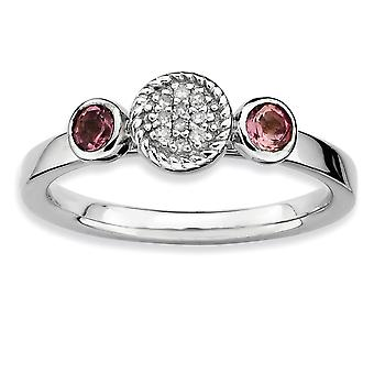 Sterling Silver Bezel Polished Prong set Rhodium-plated Stackable Expressions Db Round Pink Tourm. and Dia. Ring - Ring