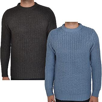 Brave Soul Mens Surgeon Chunky Cable Knit Crew Neck Pullover Sweater Jumper Top