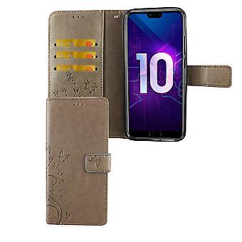 Huawei Honor 10 Handy-Hülle Schutz-Tasche Cover Flip-Case Kartenfach Grau