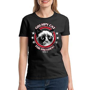 Grumpy Cat Grumpy For President Women's Black Funny T-shirt
