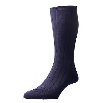 Pantherella Packington Rib Merino Wool Socks - Navy