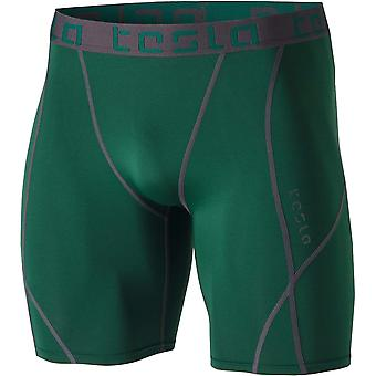 Tesla MUS17 Cool sec Baselayer Sport Compression Shorts - Green/Dark Gray