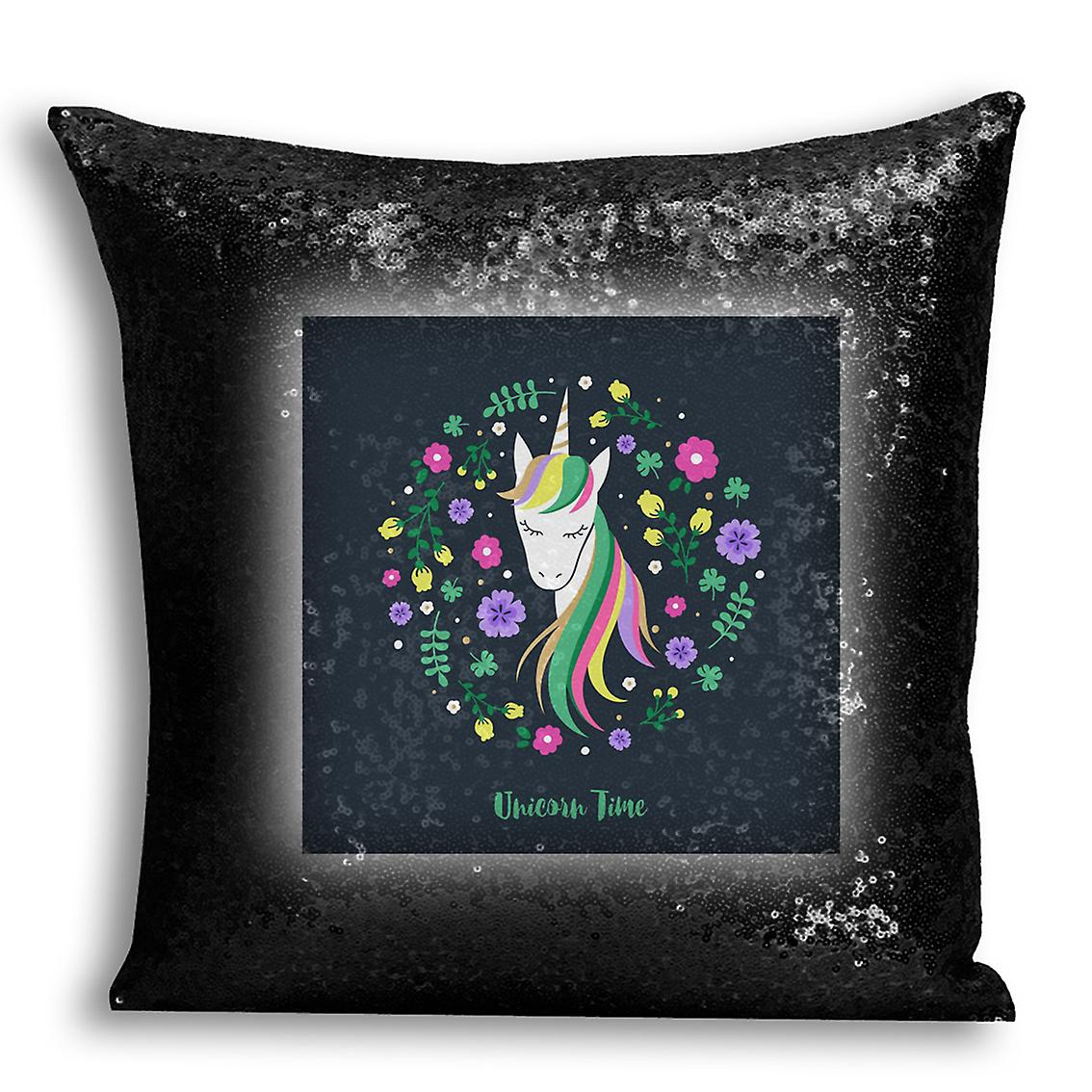 Home CushionPillow Decor Sequin Cover Inserted 15 Black For Design tronixsUnicorn Printed With I 0wyvON8nm