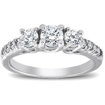 1 1/10 Ct Diamond Three Stone Engagement Ring 14K White Gold