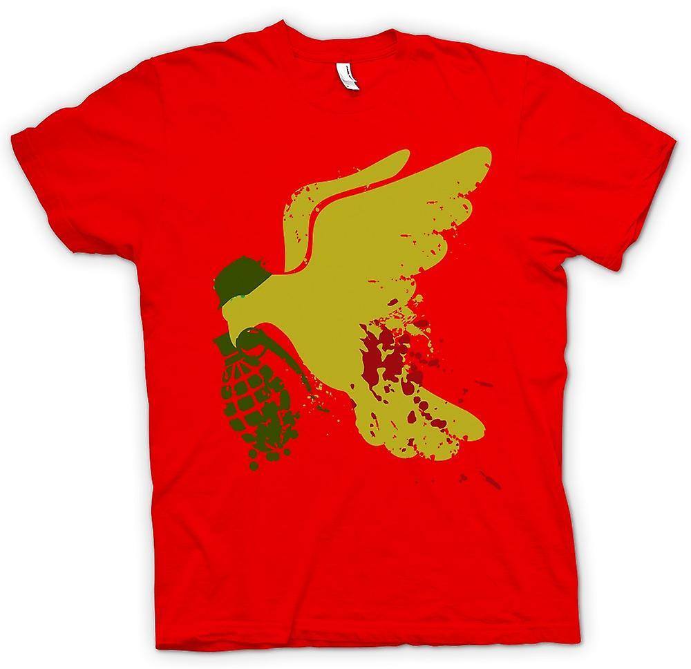 Mens T-shirt - Peace Not War Dove Grenade - Funny