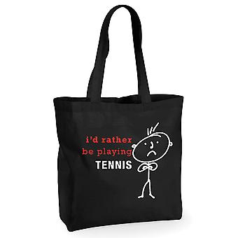 Mens I'd Rather Be Playing Tennis Black Cotton Shopping Bag