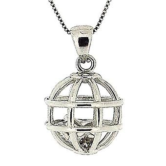TOC Sterling Silver Caged Floating Star Pendant Necklace 18