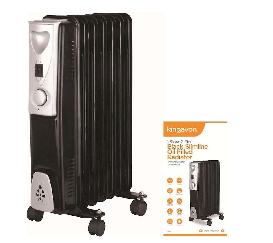 1.5Kw 7 Fin Black Slimline Oil Filled Radiator Heater Warmer