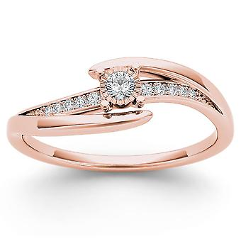 IGI certifié 14 k Ct 0,10 or Rose diamant naturel mode bague de fiançailles