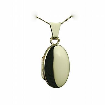 9ct Gold 18x11mm plain oval Locket with a curb Chain 20 inches