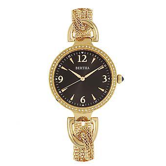 Bertha Sarah Chain-Link Watch w/Hanging Charm - Gold/Black