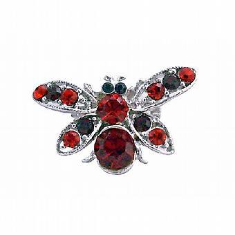 Sleek Garnet Red Rhinestones Elegant Bumble Bee Brooch Pin