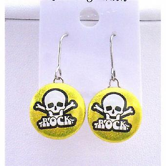 Rock Earrings Skull Head Embossed Golden Metal Rock Halloween Earrings
