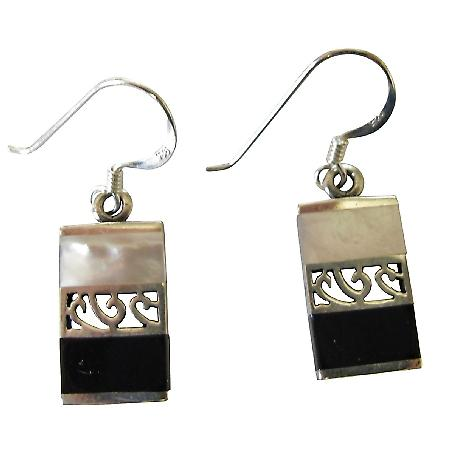 Fabulous Gift Buy Sterling Mother Of Pearls & Onyx Inlay Earrings