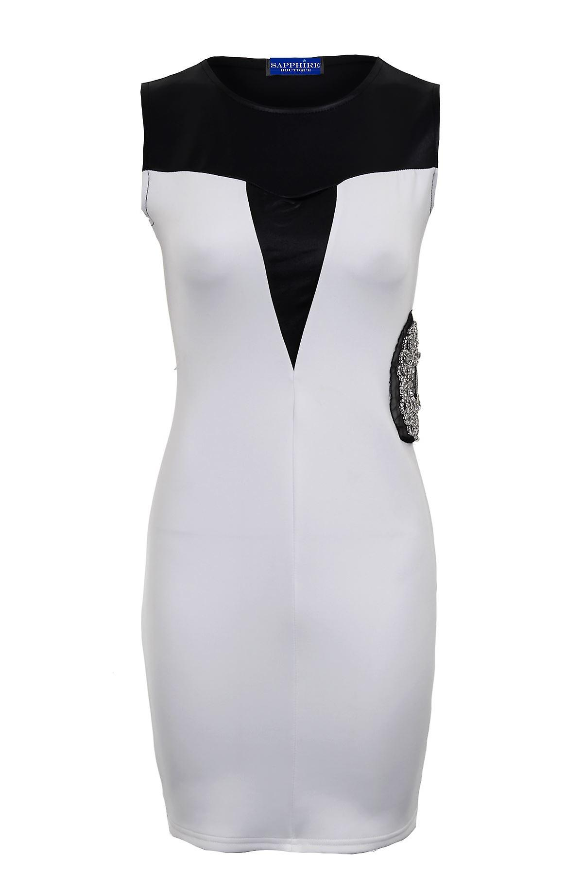 Ladies Sleeveless PVC Contrast Side Diamante Short Bodycon Women's Dress