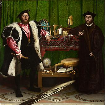 The Ambassadors, Hans holbein the younger, 50x50cm