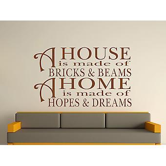 A House Is Made Of Bricks And Beams v2 Wall Art Sticker - Brown