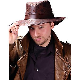 Fedora marron en cuir-Look pour adultes