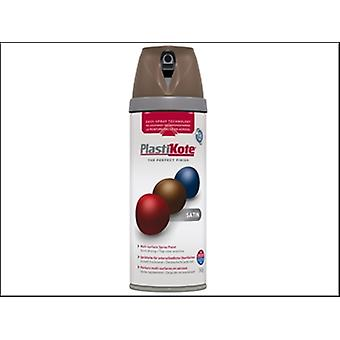 Plasti-Kote Twist & Spray Satin Chocolate Brown 400ml