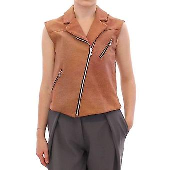 La Maison Du Couturier Brown Leather Jacket Vest -- GSS1769285