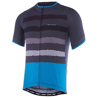 Madison Black-Chilli Red-Torn Stripes 2018 Peloton Short Sleeved Cycling Jersey