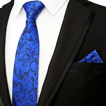 Bright blue floral paisley pattern tie & pocket square
