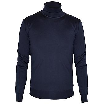 CC Collection Corneliani Corneliani Navy Blue Knitted Rollneck Sweater