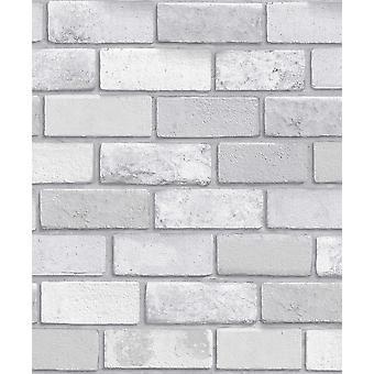 Arthouse Diamond Brick Silver Glitter Textured Vinyl Wallpaper Modern Wallpaper