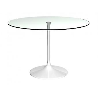 Gillmore Space Pedestal Large Dining Table Clear Glass And White