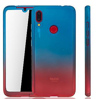Xiaomi Redmi Nota 7 Funda de protección de la funda del teléfono cubierta completa del tanque de protección del cristal azul / rojo
