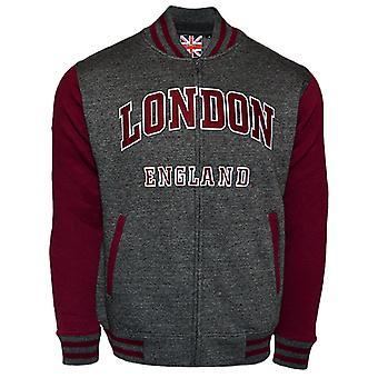 Le170cm london england unisex baseball jacket charcoal maroon