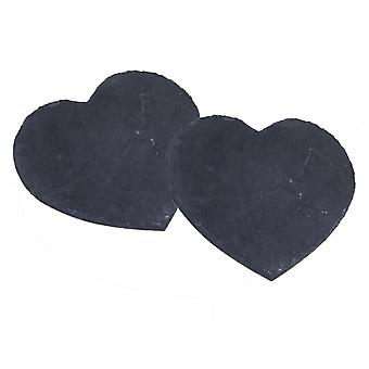 Set of 2 Natural Slate Heart Placemats Serving Tray Table Mats Runner chop board