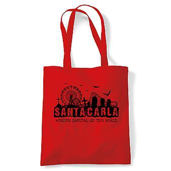 Santa Carla Cult 80s Vampire Movie Tote | Retro 80's Cult Cinema | Vampire Comic Book Horror | Reusable Shopping Cotton Canvas Long Handled Natural Shopper Eco-Friendly Fashion