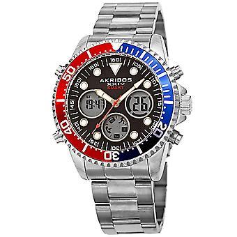 Akribos XXIV AKS191094SSBK Men-apos;s Smart Multifunction LCD Display Diver Watch
