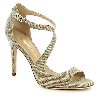 Leonardo Shoes Women's handmade ankle strap heels sandals in platinum fabric