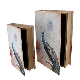 Set of 2 Peacock Print Faux Leather Book Secret Stash Boxes