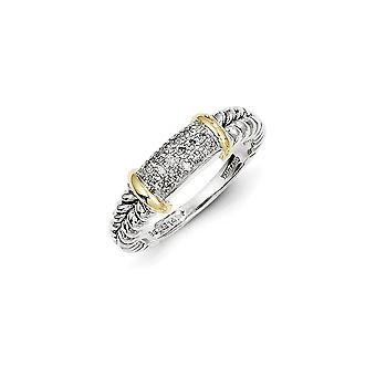 925 Sterling Silver Textured Polished Open back Antique finish With 14k Diamond Ring - Ring Size: 6 to 8