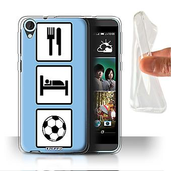 STUFF4 Gel/TPU Case/Cover for HTC Desire 820s Dual/Football/Soccer/Blue/Eat/Sleep