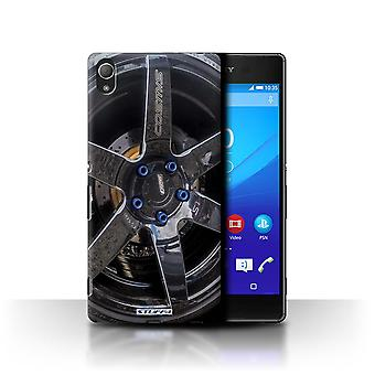 STUFF4 Case/Cover for Sony Xperia Z4/Black/Blue/Alloy Wheels