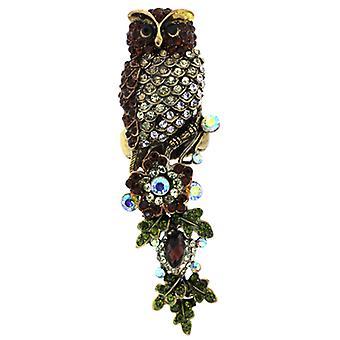Överdimensionerade Swarovski Crystal Uggla & blommor justerbar Ring