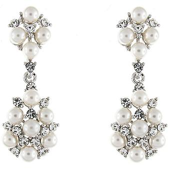 Clip On Earrings Store Swarovski Crystal and Pearl Statement Drop Clip on Earrings