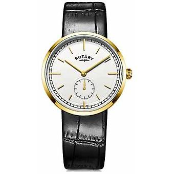 Rotary Mens Canterbury Black Leather Strap White Dial GS05062/02 Watch