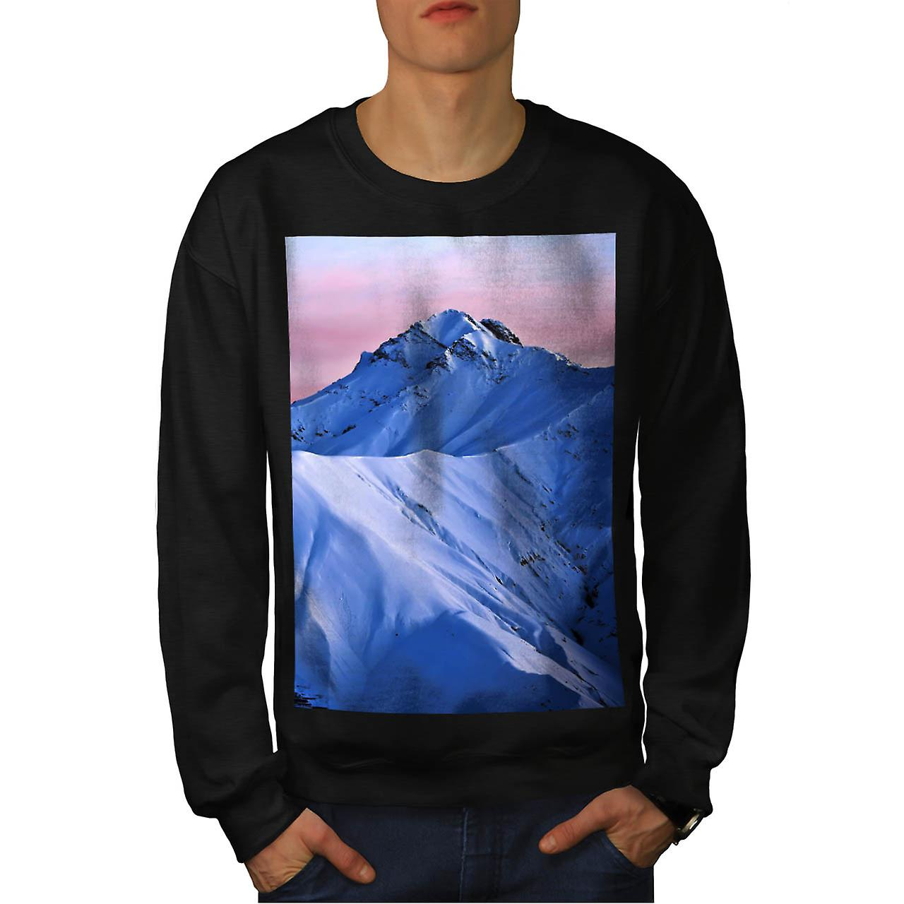 Rocky Mountain Peaks Snow Rock Men Black Sweatshirt | Wellcoda