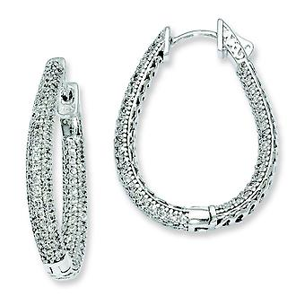 Sterling zilveren Rhodium Plated met CZ Teardrop scharnierend Hoop Earrings Hoop Earrings