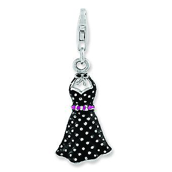 Sterling Silver Rhodium-plated 3-d Enameled Sun Dress With Lobster Clasp Charm - 2.0 Grams