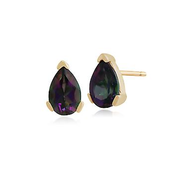 Gemondo 9ct Yellow Gold 1.04ct Pear Mystic Green Topaz Stud Earrings 6.5x4mm