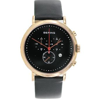 Bering mens watch wristwatch slim classic chronograph - 10540-462 leather