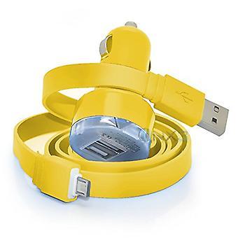 ONX3 LG K4 (2017) giallo In auto Dual Port 2.1 Amp Bullet Mini caricabatteria USB, tra cui 1 Micro USB cavo di ricarica/trasferimento dati
