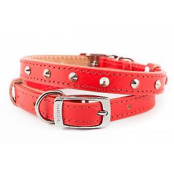 Heritage Diamond Leather Studded Collar Red 16mm X26-36cm